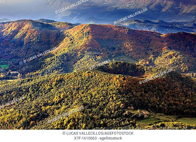 On balloon over Santa Margarida Volcano,Garrotxa Natural Park,Girona province  Catalonia  Spain