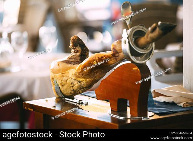 Jamon. Spanish Ham An Important Part Of Spanish Cuisine, Culture