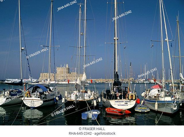 Mandraki harbour, Rhodes Town, island of Rhodes, Dodecanese islands, Greece, Mediterranean, Europe