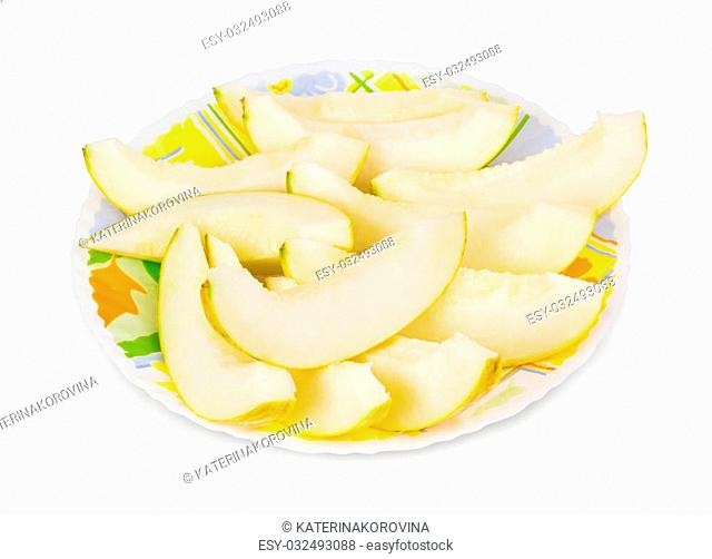 Sliced melon lying on the white plate