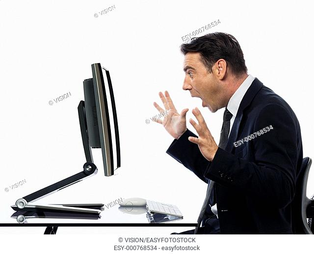 relationship between a caucasian man and a computer display monitor on isolated white background expressing system failure concept