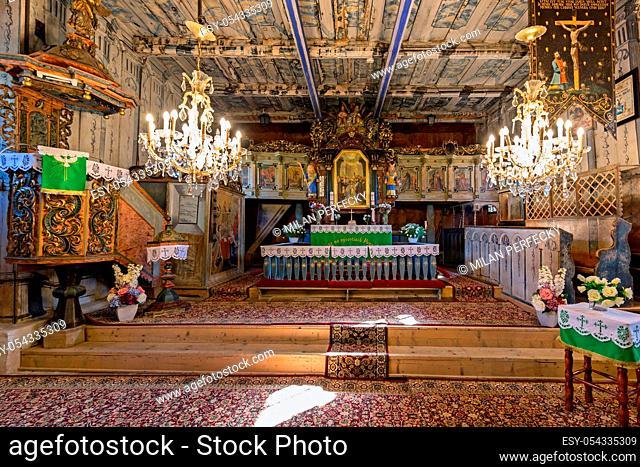 Wooden Evangelical Articular Church, interior, Lestiny, Slovakia