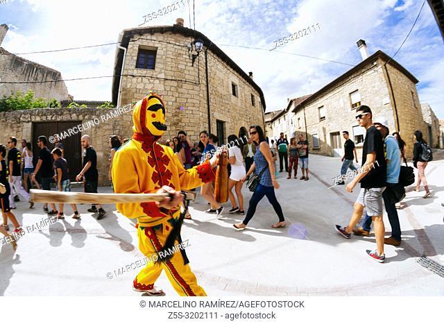 El Colacho chases the village youngsters with his whip during the Fiesta del Colacho in Castrillo de Murcia, Burgos, Castilla y Leon, Spain, Europe
