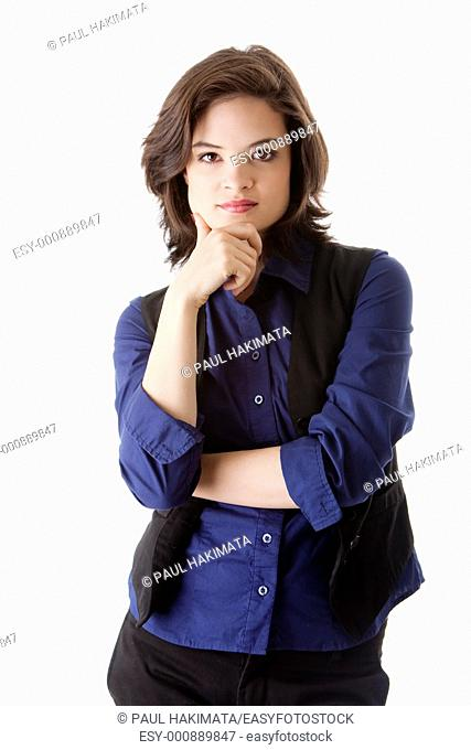 Beautiful young caucasian brunette business student woman arm crossed and hand on chin, wearing blue blouse and black jacket, isolated