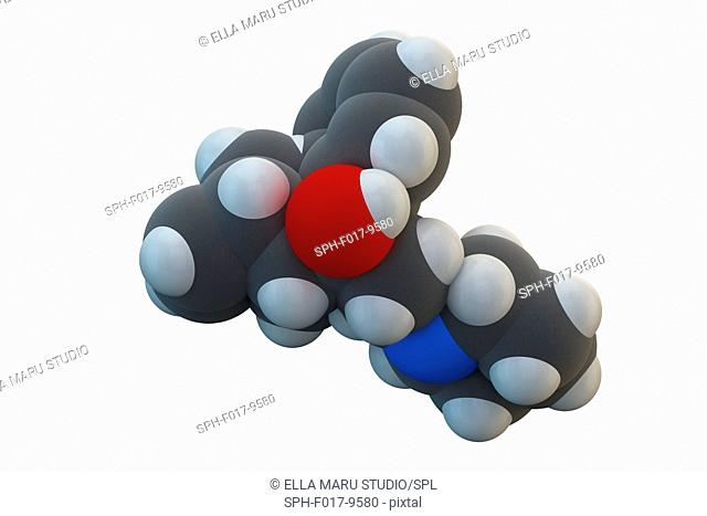 Biperiden Parkinson's disease drug molecule. Chemical formula is C21H29NO. Atoms are represented as spheres: carbon (grey), hydrogen (white), nitrogen (blue)