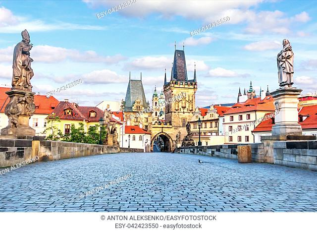 Statues of Charles Bridge and the Mala Strana Bridge Towers, summer view