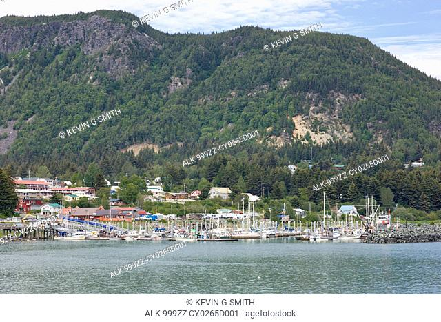 View of Haines small boat harbor and Portage Cove, with Mt. Ripinski in the background, Southeast Alaska, Summer