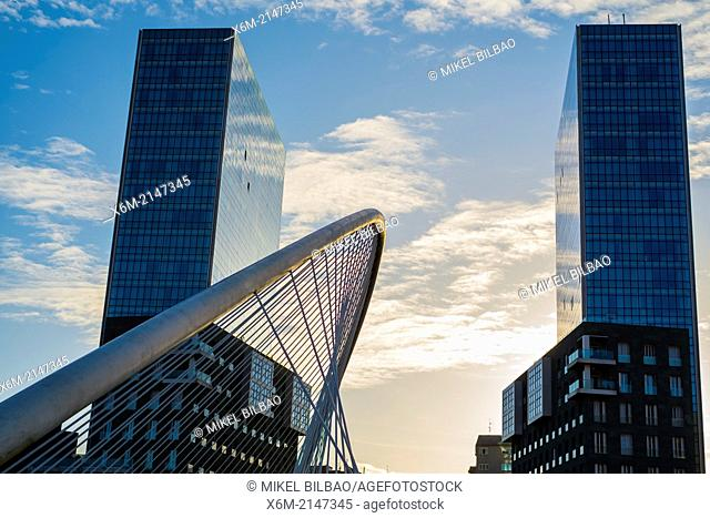 Zubizuri or Calatrava Bridge and Isozaki Atea Towers. Bilbao, Spain