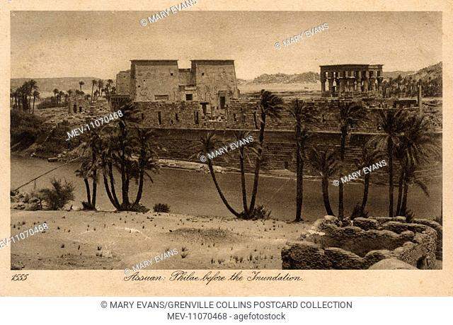Aswan, Island of Philae before flooding - Egypt, North Africa - Card series (7/8)