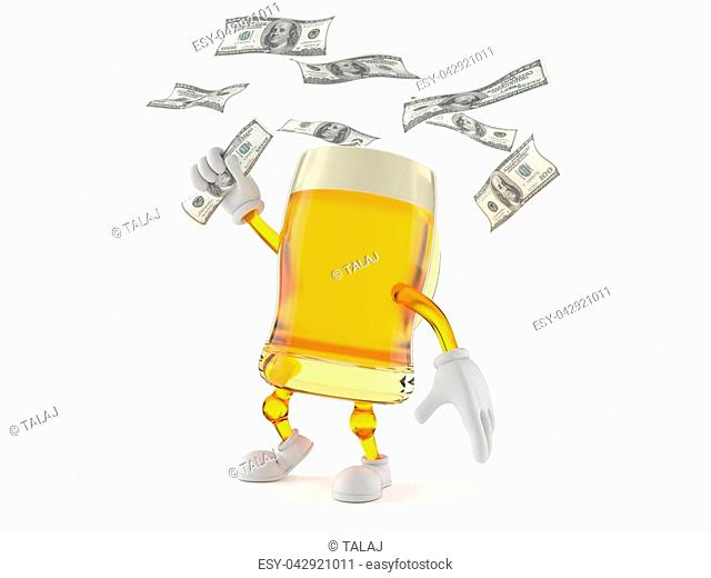 Beer character catching money isolated on white background