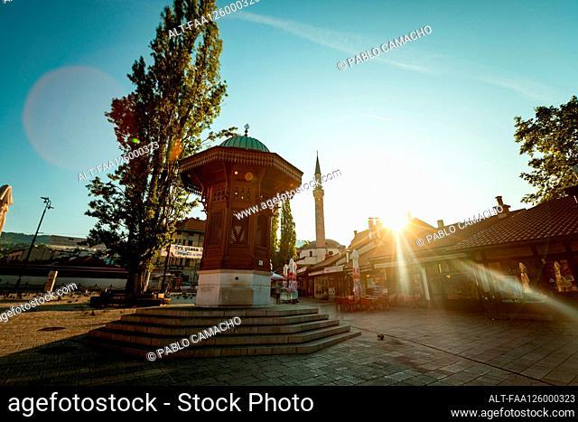 Low angle view of Sebilj in Bascarsija Square in Sarajevo city