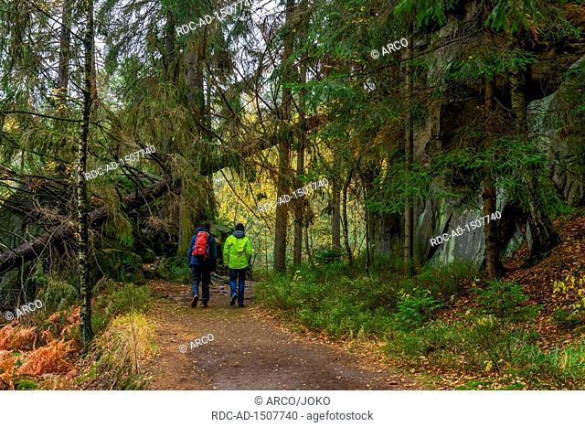 Malerweg bei Hohnstein, Saechsische Schweiz, Sachsen, Deutschland