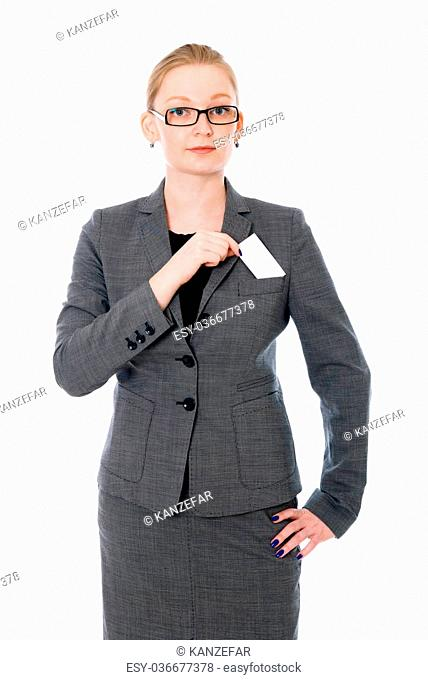 Portrait of business woman in glasses with a credit card. Isolated on white background