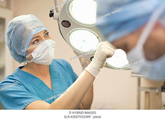 Veterinary surgeon adjusting lights