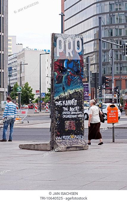 A piece of the old wall, Potsdamer Platz, Berlin, Germany