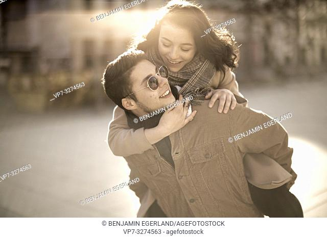 young teenage couple outdoors in Cottbus, Brandenburg, Germany