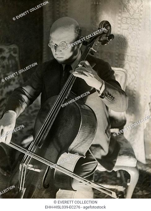 Pablo Casals, the great cello player in his home in Barcelona. Ca. 1930-38. - (BSLOC-2014-17-197)