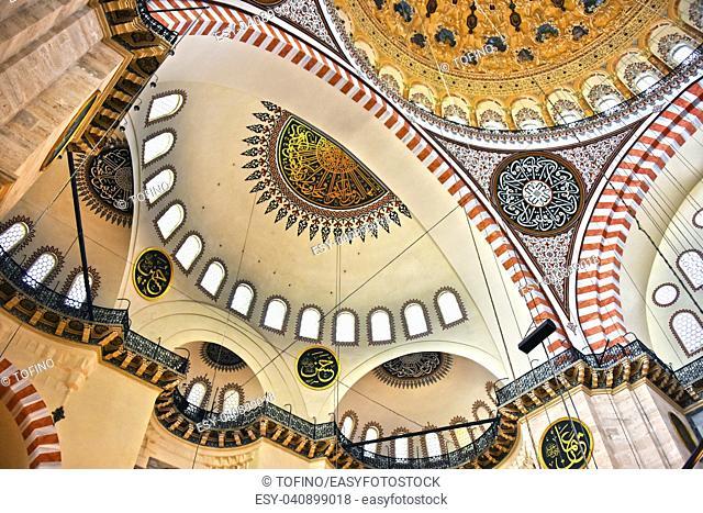 Interior of Suleymaniye Mosque in Istanbul, Turkey