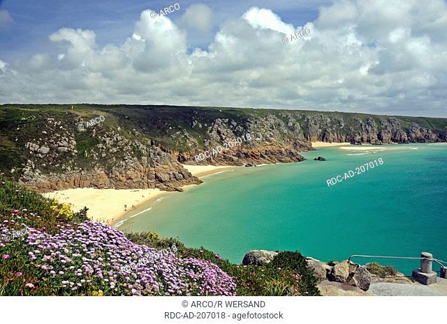 Rocky coast with beach, near open-air theatre Minack Theatre, near Porthcurno, Cornwall, England
