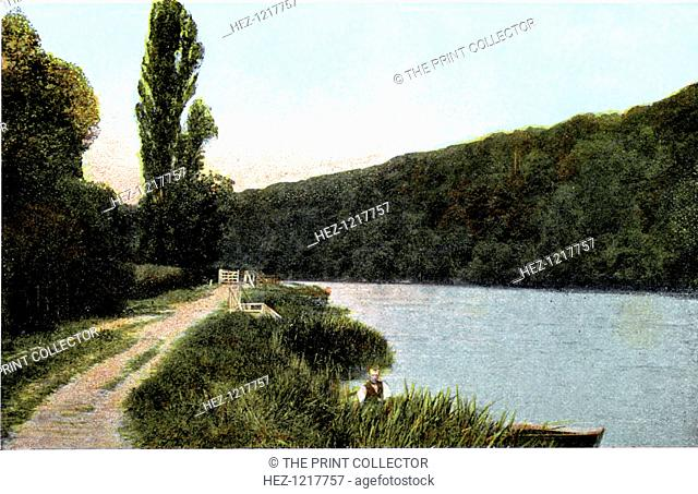 Towing path alongside the Thames, Maidenhead, Berkshire, 20th Century. Postcard from The Souvenir Album, Views of London And The River Thames