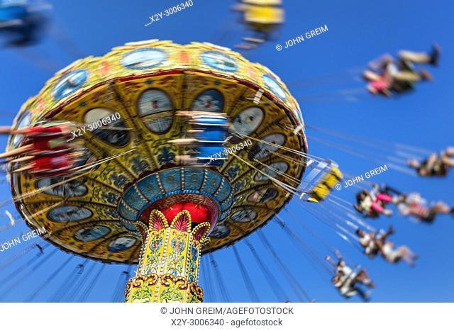 Blurred carousel ride at an amusement park, Atlantic City, New Jersey, USA