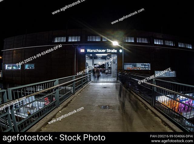 """16 February 2020, Berlin: """"""""Warschauer Strasse"""""""" is at one of the entrances to the underground station on Warschauer Strasse. Photo: Paul Zinken/dpa"""