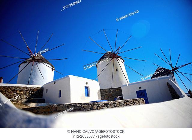 Traditional windmills (Kato Milli) in Mykonos town, Greece