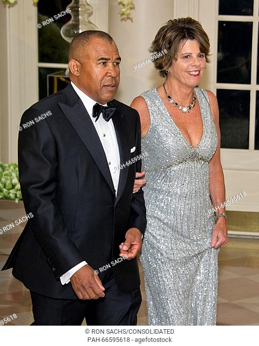 Wayne Jordan, Executive, Founder & Principal, Jordan Real Estate Investments, and Quinn Delaney arrive for the State Dinner in honor of Prime Minister Trudeau...