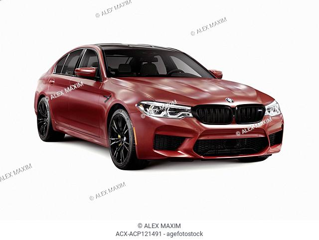Sixth-generation BMW M5 with M xDrive, 2018 performance car, luxury sport sedan, 5-series in dark red, burgundy matte color