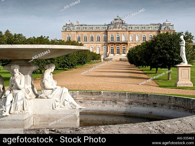 WREST PARK HOUSE AND GARDENS, Bedfordshire. View from the fountain, along the avenue towards the house