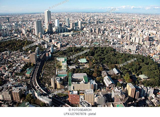 Aerial view of Gokoku-ji temple, Bunkyo ward, Tokyo Prefecture, Honshu, Japan