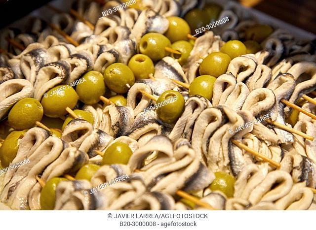 Anchovies, Pintxos, Bar Restaurante Portaletas, Parte Vieja, Old Town, Donostia, San Sebastian, Gipuzkoa, Basque Country, Spain