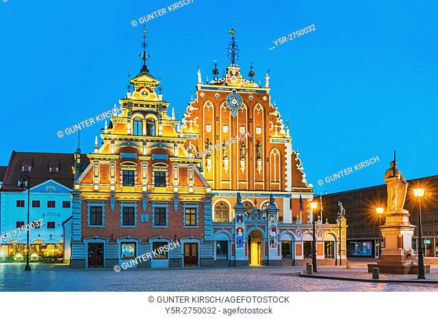 The House of the Blackheads (Melngalvju nams) on the Town Hall square was first mentioned in 1334, Riga, Latvia, Baltic States, Europe