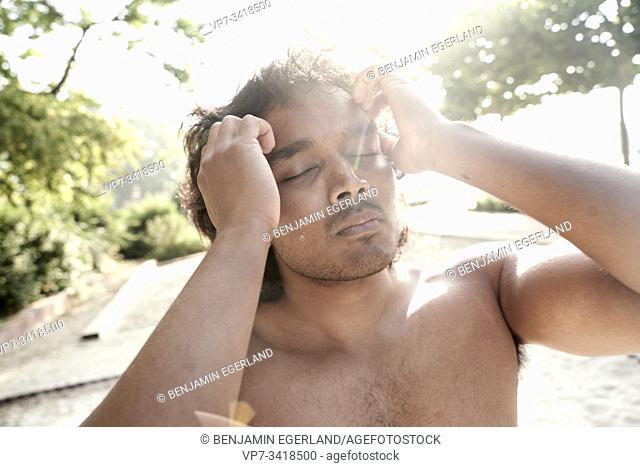 Strong shirtless indian man