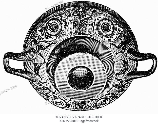 Ancient Greek bowl (6th century BC), illustration from Soviet encyclopedia, 1927