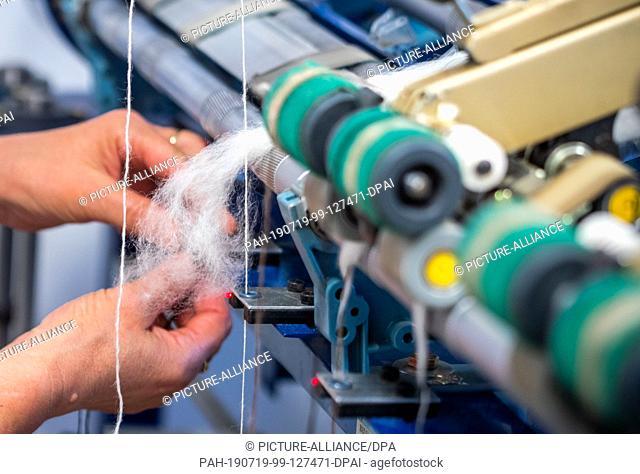 09 July 2019, Brandenburg, Walsleben: Cleaned and combed alpaca wool is processed into alpaca yarn in a twisting machine