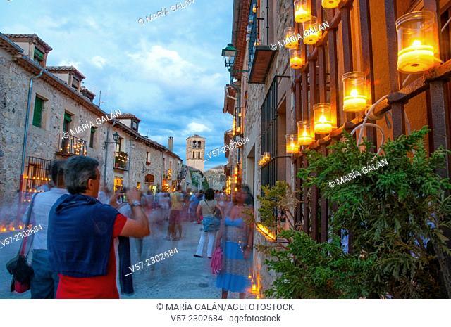 Mayor street during Concierto de las Velas, night view. Pedraza, Segovia province, Castilla Leon, Spain