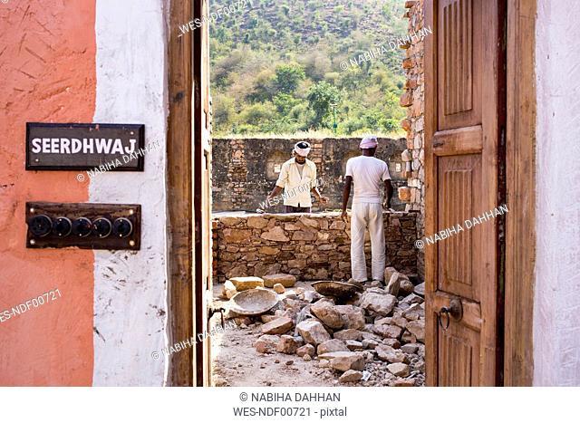 India, Rajasthan, Alwar, Heritage Hotel Ram Bihari Palace, construction site