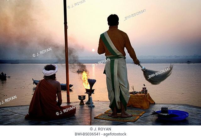 Hindus greeting the sun over Ganges River, India, Varanasi
