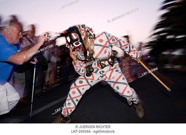 Devils masks at the carnival parade, Los Diabletes, Gran Coso de Carnaval, Costa Teguise, Lanzarote, Canary Islands, Spain, Europe