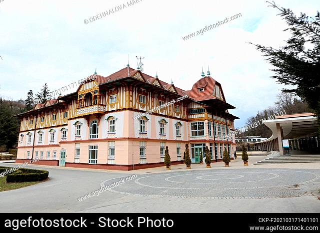 Building of Hotel Jurkovicuv dum, rebuild by architect Dusan Jurkovic in 1902, and the Colonnade on Lazenske namesti (Spa Square), Luhacovice, Zlin Region