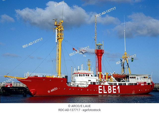 Light ship  'Elbe 1' in harbour museum ship Cuxhaven North Sea Lower Saxony Germany Alte Liebe