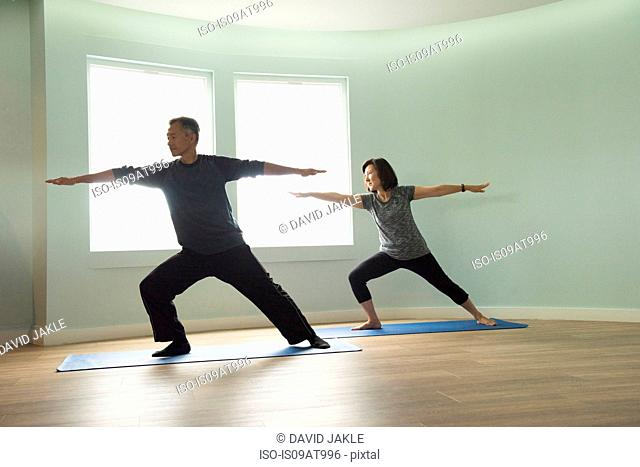 Front view of mature couple in warrior pose looking away
