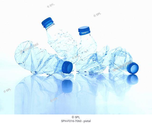 Crushed plastic bottles, studio shot