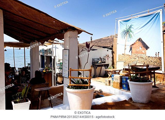 Courtyard of a restaurant, Om Made Cafe, Anjuna, North Goa, Goa, India
