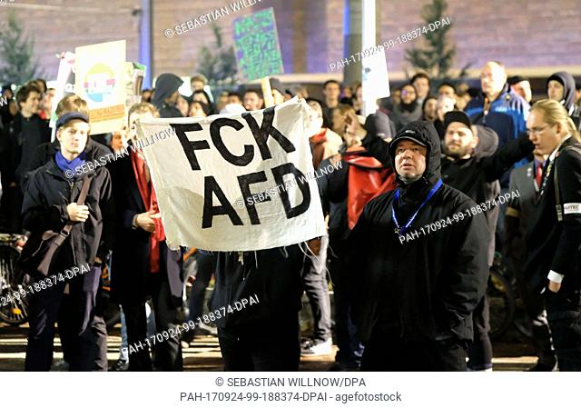 Anti-AfD protestors outside the building in which the party held its election night party in Berlin, Germany, 24 September 2017