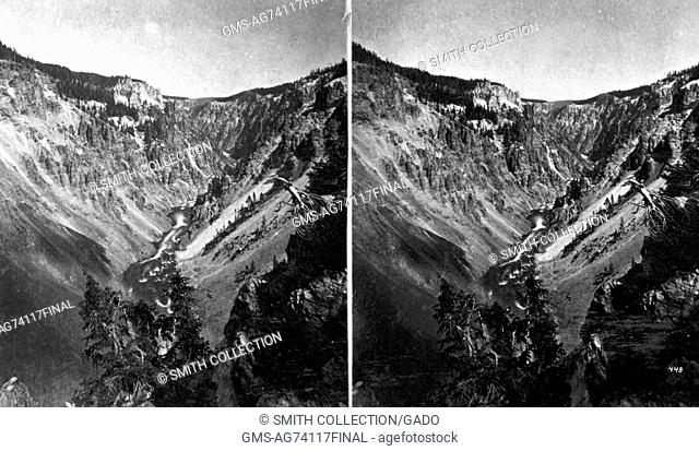 Stereograph of the Grand Canyon of the Yellowstone as seen from the east side, Yellowstone National Park, Wyoming, 1871. Image courtesy USGS