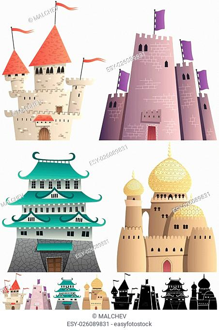 Set of cartoon castles on white background in 3 versions: One with gradients, other without gradients, and still other with silhouettes