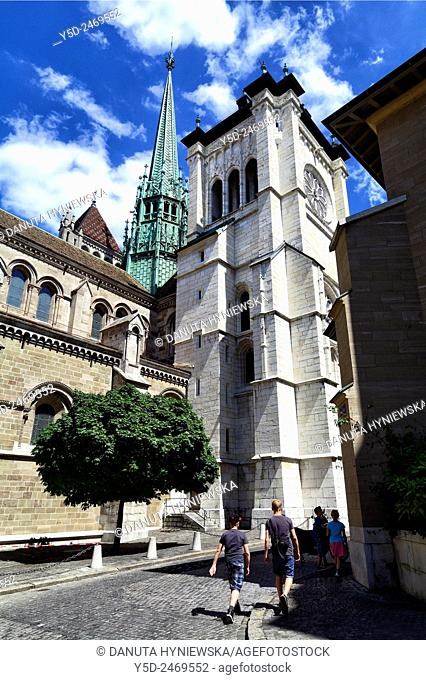 Europe, Switzerland, Geneva - called the Protestant Rome, here Protestant Saint-Pierre Cathedral in Geneva