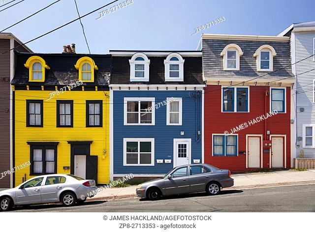 Colourful row houses (Jellybean Row) in downtown St. John's, Avalon Peninsula, Newfoundland, Canada